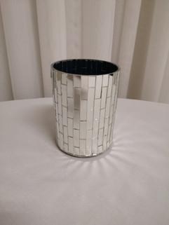 silver mosaic vase