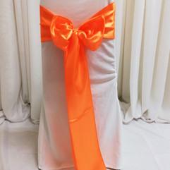 orange satin chair tie