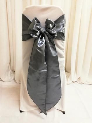 silver satin chair tie