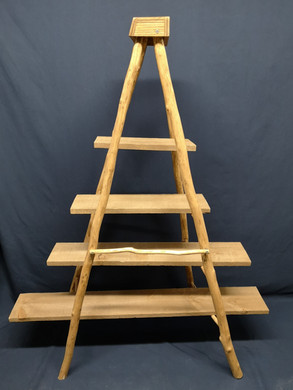 full rustic wooden carved ladder