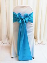 blue satin chair tie