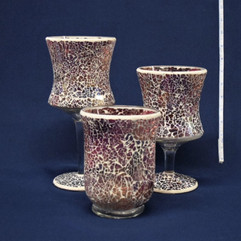 pink mosaic vases