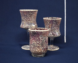 pink mosaic vases and goblet