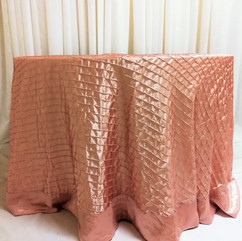 dusty rose pleated tablecloth