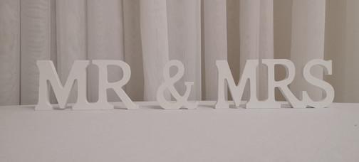 white MR. & MRS