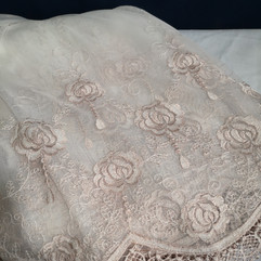 blush pink flower sheer linen