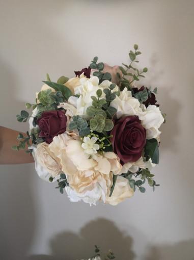 burgundy & ivory bouquet