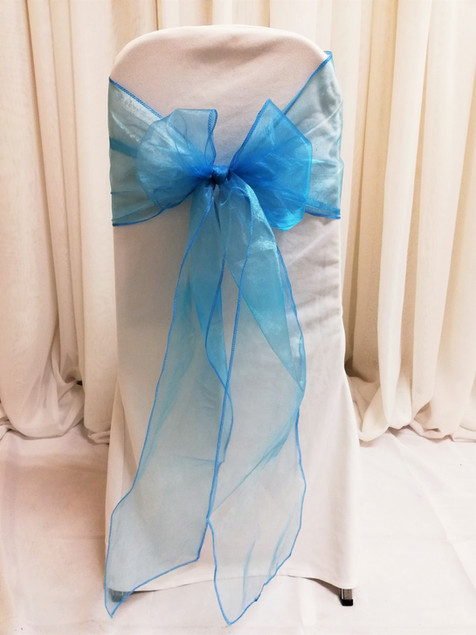 blue organza chair tie