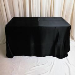black rectangular satin tablecloth