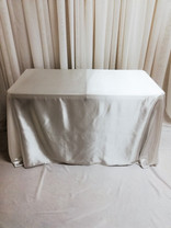 white rectangular satin tablecloth