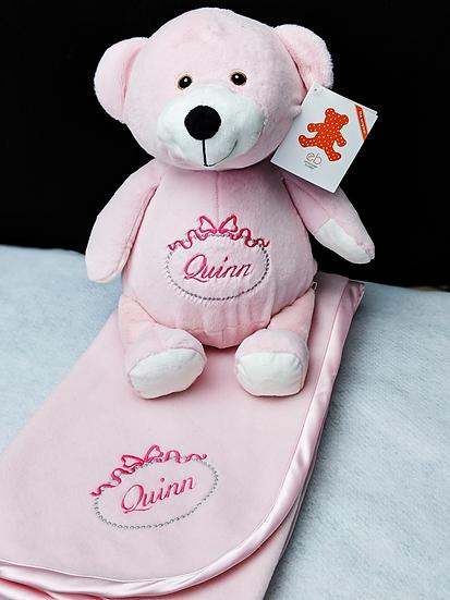 Pink Bear and Crib Blanket Set