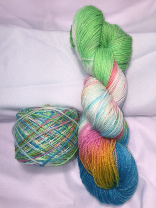 Rainbow Sherbet Sock Weight Hand Dyed Superwash Merino and Nylon