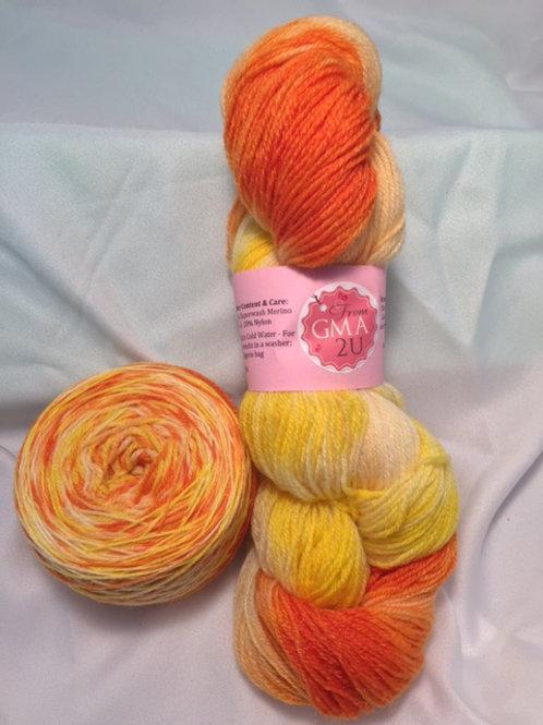 Kandy Korn Sock Weight Hand Dyed Superwash Merino and Nylon