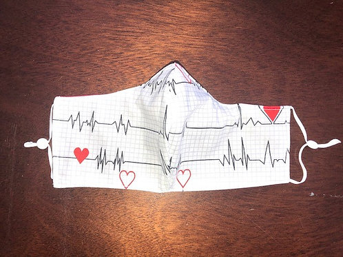 Heartbeat on White - Adult Cup Size