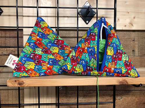 Pyramid Project Bag - Colorful Cats