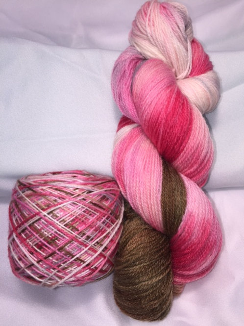 Raspberry Delight Sock Weight Hand Dyed Superwash Merino and Nylon