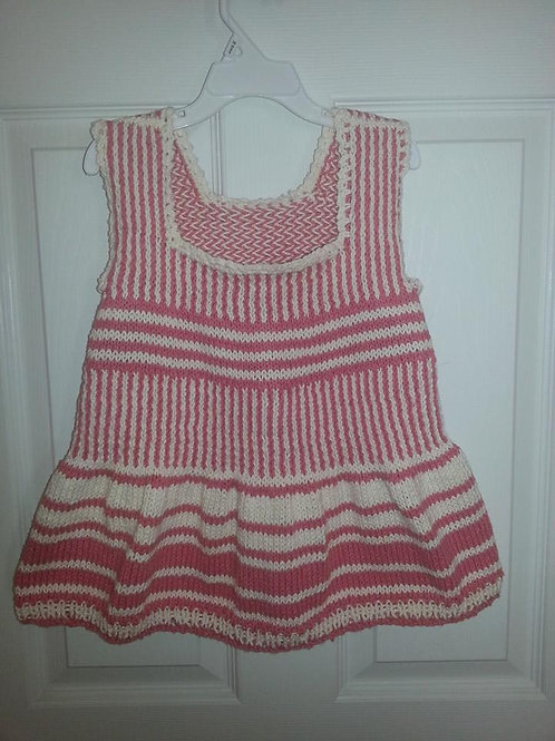 Hand Knit Pink and White Dress