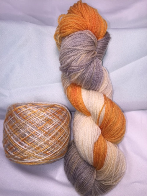 Wicked Pumpkin Sock Weight Hand Dyed Superwash Merino and Nylon