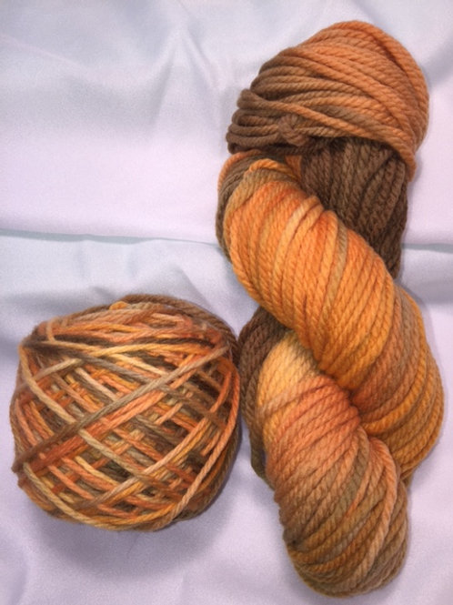 Pumpkin Pie Hand Dyed Super Wash Merino Bulky