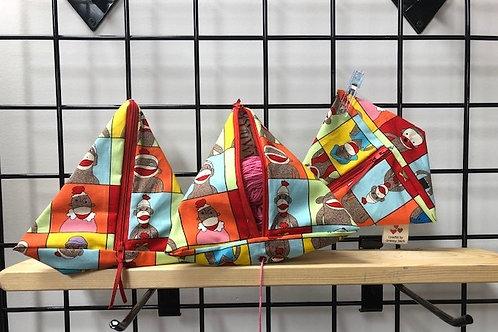 Pyramid Project Bag - Sock Monkey
