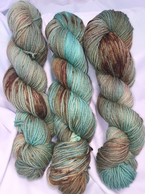 Mint Chocolate Chip - Hand Dyed Worsted Weight Superwash Merino