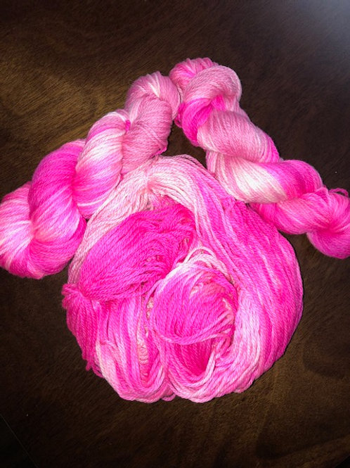 Pink Ladies Worsted/Aran MCN, Hand Dyed Superwash Merino, Cashmere, Nylon