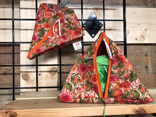 Pyramid Project Bag - Autumn Flowers