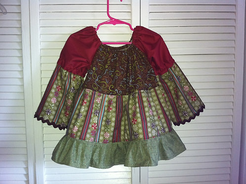Christmas Candy Peasant Top