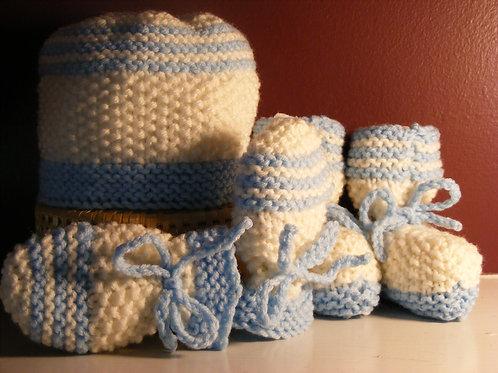 White w/Blue Trim Hand Knit Hat, Bootie & Mittens