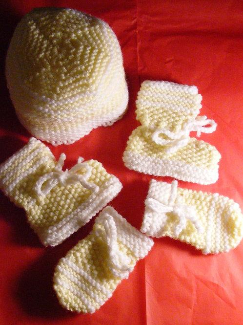 Yellow & White Hand Knit Hat, Bootie & Mitten Set