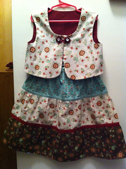 Cranberry Skirt and Vest Set