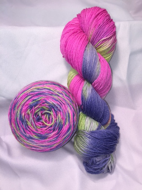 80's Neon Throwback Fingering Weight Hand Dyed Merino/Silk/Nylon/Silver Yarn