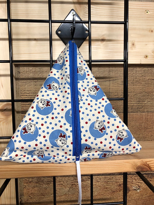 Pyramid Project Bag - Country Kitties Blue