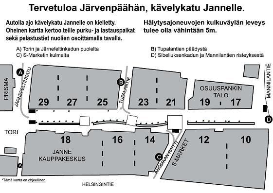 Kävelykatu Jannen kartta