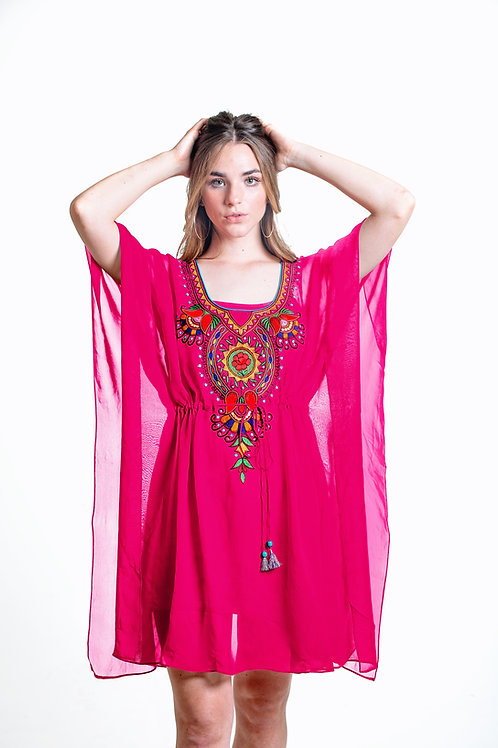 Pink tunic, caftan, shortdress, kaftan, sheer cover up