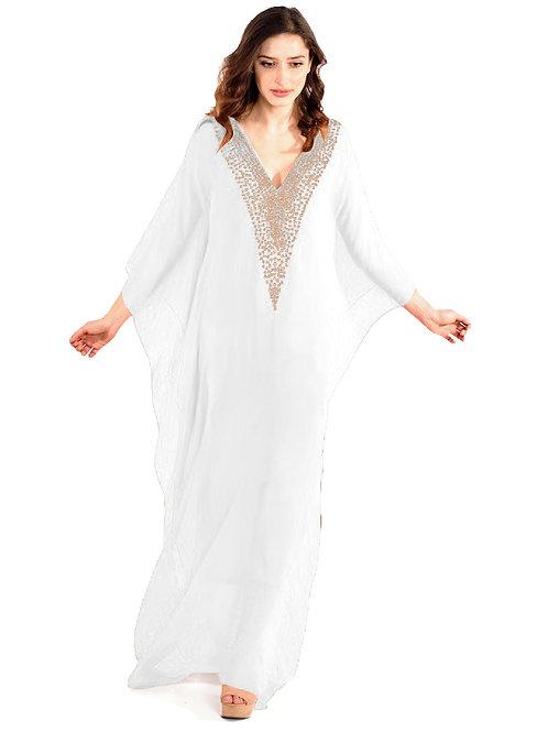 white Kaftan, Maxi Kaftan, beach Dress, Romantic Dress, Plus size