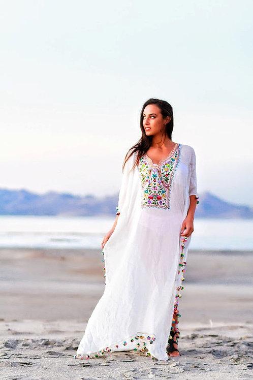 Boho kaftan WHITE kaftan dress long caftan maxi dress embroidered bohemi