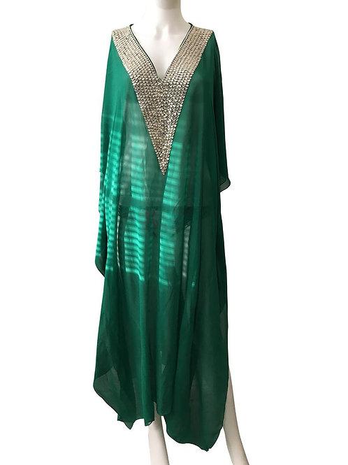 Green Kaftan, Maxi Kaftan, green Dress, Romantic Dress, Plus