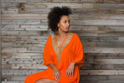 Orange crystal kaftan long maxi dress with crystal embroidered v neck
