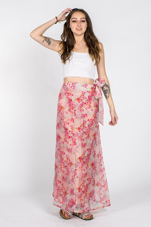 Pink organza Floral print wrap around skirt for spring and summer