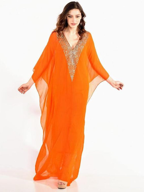long kaftan dress BEACH caftan maxi dress in orange embroidered caftan wedding
