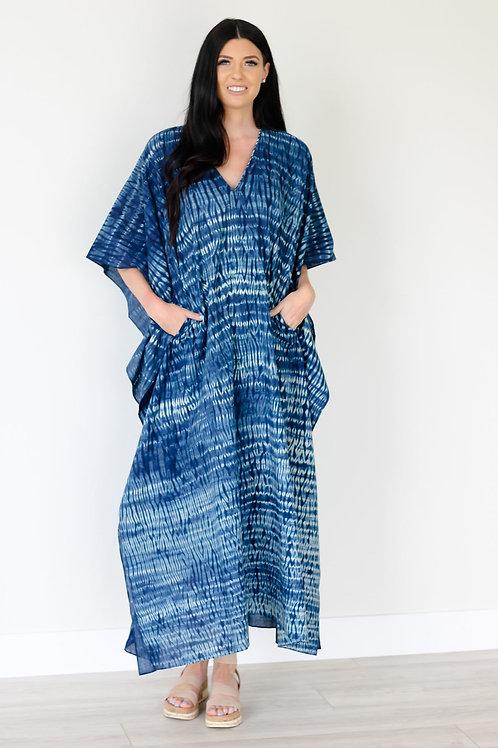 NATURAL INDIGO kaftan/ sustainable / Natural clothing/ Hand-dyed caftan