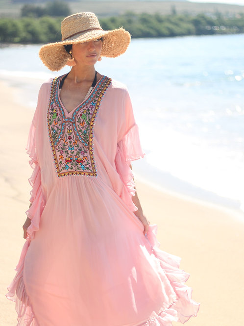 Bohemian fringe dress , embroidered pink dress