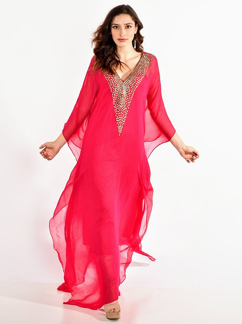 Fuchsia kaftan long maxi dress with crystal embroidered v neck