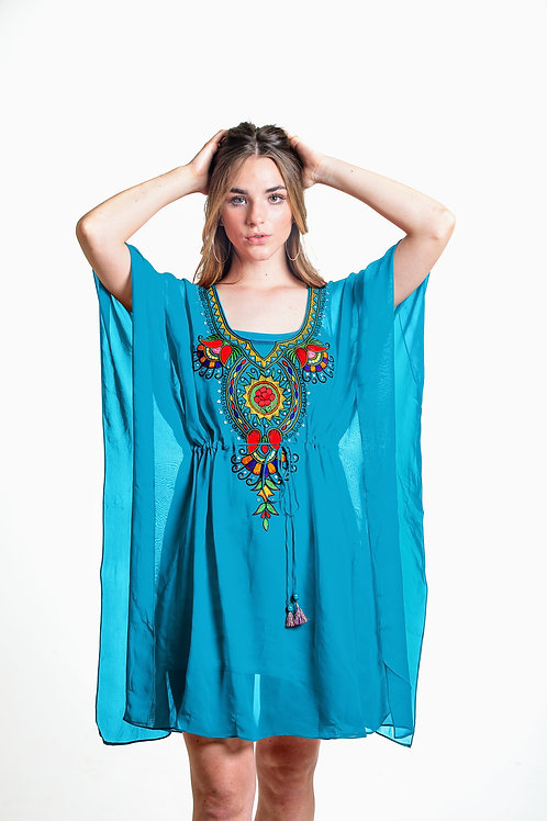 Turqoise tunic kaftan, short dress, belted caftan, sheer cover up