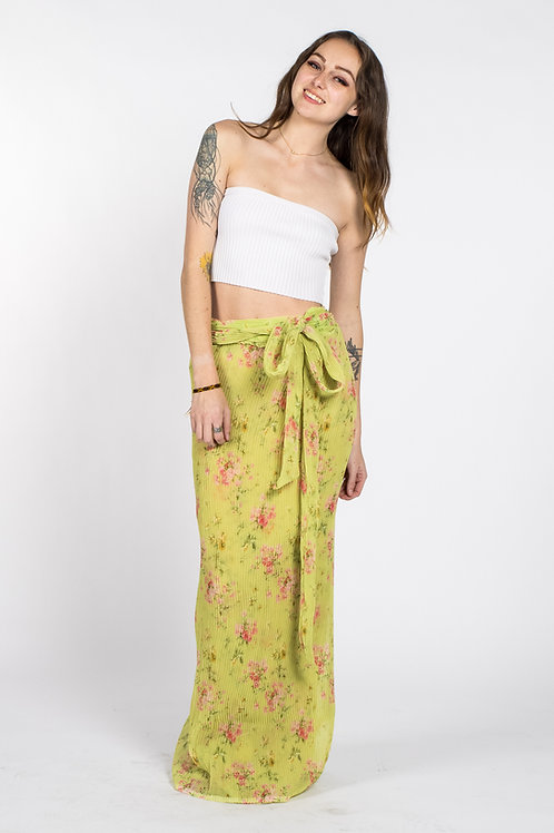 chartreuse Floral print wrap around skirt for spring and summer