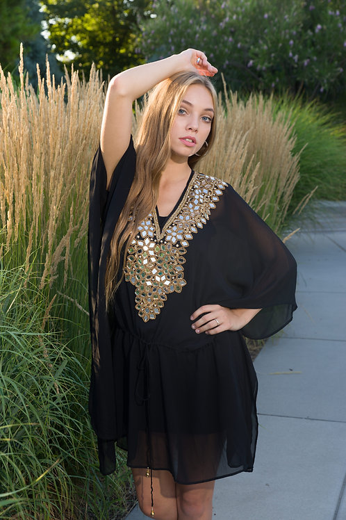 Black tunic caftan, kaftan, shortdress, sheer cover up