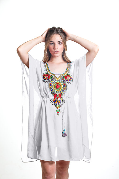 white tunic kaftan, caftan, shortdress, belted, sheer cover up