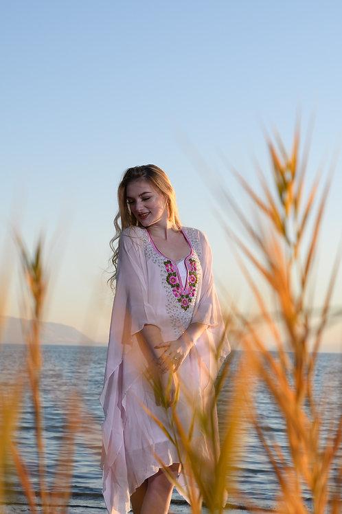 Pink kaftan, tunic, short dress, sheer beaded cover-up