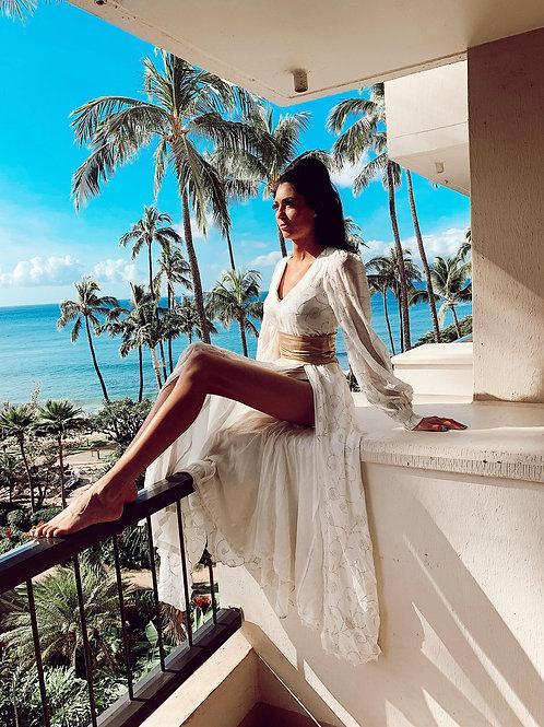 Boho maxi dress, white beach dress, long sleeves kaftan dress , holiday outfit